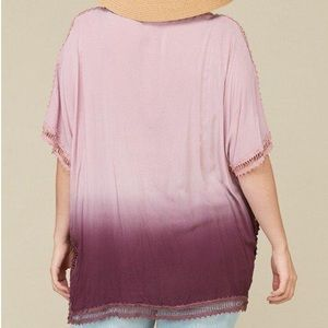 Swim - Plus Size Cover-Up Tunic Top Ombre Dip-Dye Purple